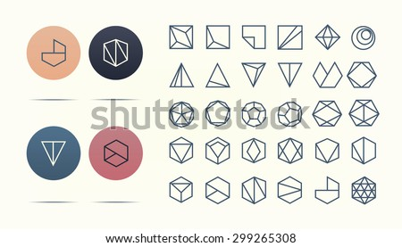 Collection of 30 retro geometric shapes. Hexagons, Triangles, Squares,Circles, Crystals Line design elements.Trendy hipster icon,logo, logotypes. Vector illustration. Isolated