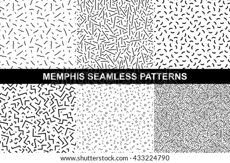 Collection of retro memphis patterns - seamless. Fashion 80-90s. Black and white mosaic textures.