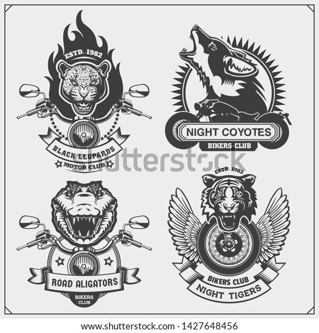 Collection of retro motorcycle labels, badges and design elements. Motor and biker club emblems with wild animals. Print design for t-shirt.