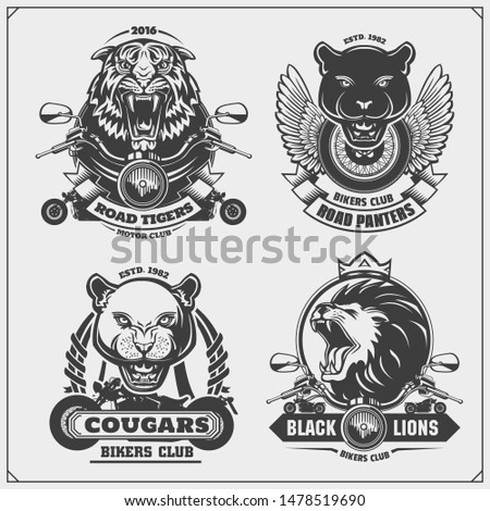 Collection of retro motorcycle labels, badges and design elements. Motor and biker club emblems with panter, puma, lion and tiger. Print design for t-shirt.