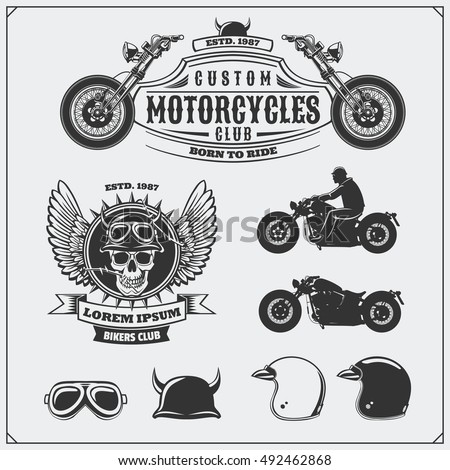 collection of retro motorcycle