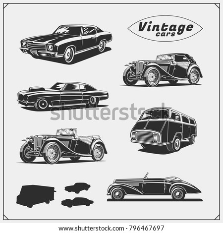 collection of retro muscle cars