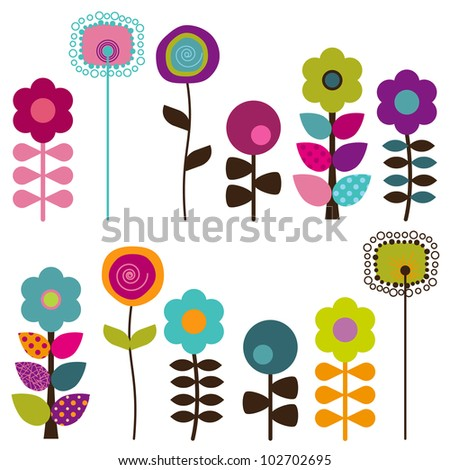 ดอกไม้เวกเตอร์ retro, ดอกไม้