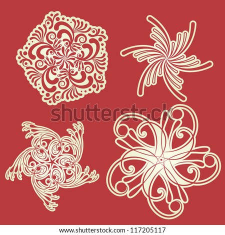 Collection of retro snowflakes in vector