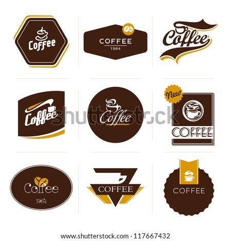 Collection of retro styled coffee labels, frames and badges. Vintage ribbons, borders and other elements for coffee design. Vector illustration.