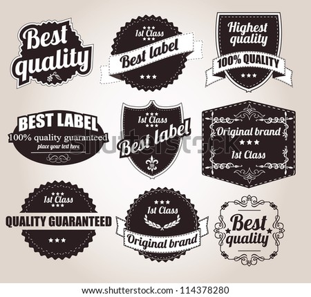 Collection of retro vintage labels, vector