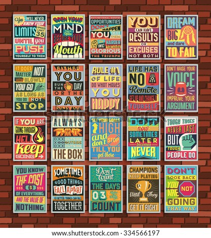 stock vector collection of retro vintage motivational quotes poster illustration with calligraphic and 334566197 - Каталог — Фотообои «Ретро»