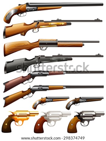 collection of rifle and pistol