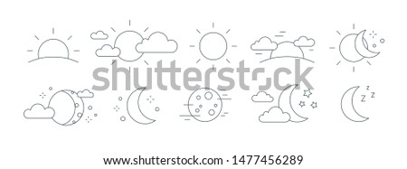 Collection of rising or setting sun, moon phases, clouds and stars symbols. Bundle of day and night time pictograms drawn with black contour lines on white background. Monochrome vector illustration.