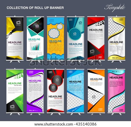 Collection of Roll Up Banner Design stand template, flyer, advertisement, display layout, vector illustration