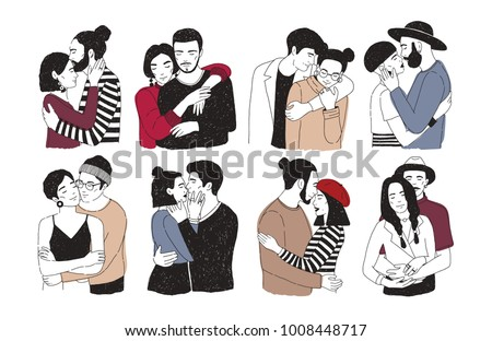 Collection of romantic couples isolated on white background. Set of portraits of men and women in love hugging, cuddling and kissing. Hand drawn vector illustration for Valentine's day greeting card.