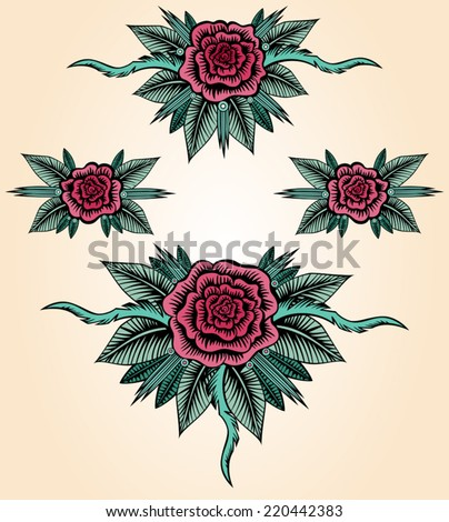 Collection of roses in tattoo style. Set of hand drawn flowers. Small posies with abstract roses, leaves and thorns. Vintage design elements. Vector file is EPS8. All elements are grouped.