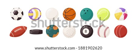 Collection of round and oval balls for different sports and recreational activities vector flat illustration. Set of various equipment for sport games isolated on white background