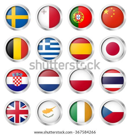 collection of round buttons with different country flags and silver frame #367584266