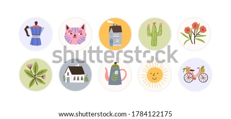 Collection of round childish tag, sticker. Design, decorated scrapbook elements. Muzzles, house, flower, bicycle, sun, pot, cactus badge. Flat vector cartoon illustration isolated on white background