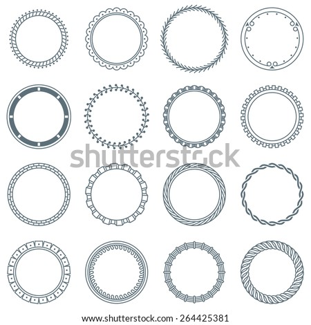 Collection of 16 Round Decorative Frames and Labels with Lines, Symmetric Geometric Shapes and Natural Elements