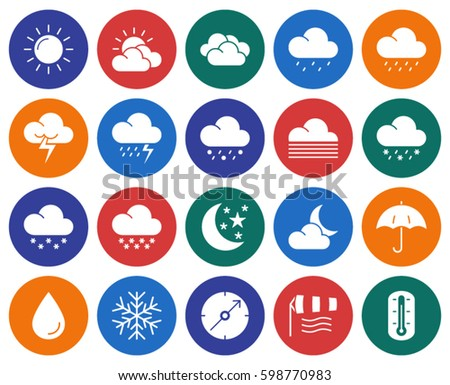 Collection of round icons: Weather