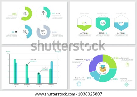 Collection of round pie charts, bar graphs and comparison diagrams with percentage indication. Bright colored infographic design templates. Vector illustration for statistical or financial report.