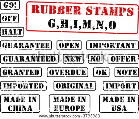 Collection of rubber stamps with words beginning with letter G, H, I, M, N, O. See other rubber stamp collections in my portfolio.