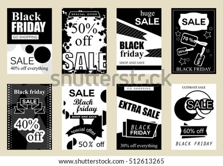 Collection of sale banners Black Friday, vector illustration. Hand drawn vintage and modern sketch placard set with lettering. For promotional material, website and mobile banners, newsletter and ads #512613265