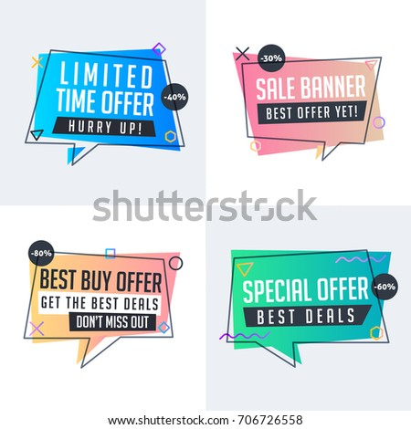 Collection of sale banners in modern colorful abstract flat style outlined label sticker emblem tag vector geometry discount