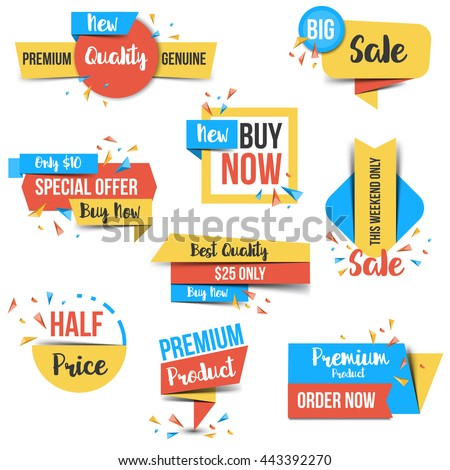 Collection of Sale Discount  Labels, Tags, Emblems. Flat design. Vector