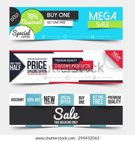 Collection of Sale Discount Styled Banners. Creative website header place holder. Vector