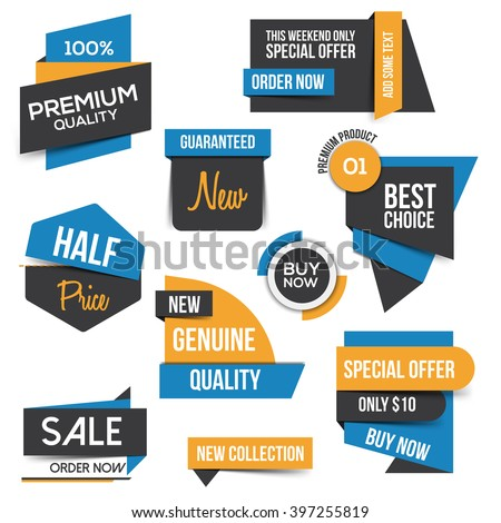 Collection of Sale Discount Styled origami Banners. Flat design. Vector