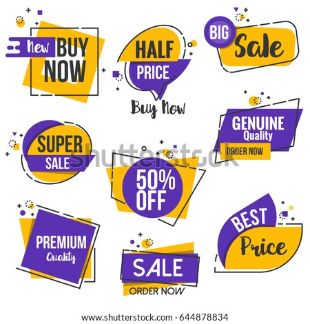 Collection of Sale Discount Styled origami Banners, Labels, Tags, Emblems. Flat outline design Vector illustration