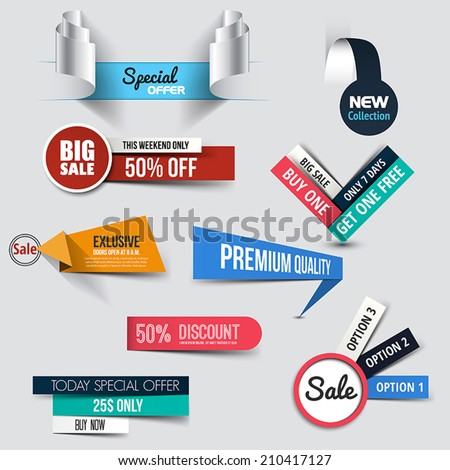 Collection of Sale Discount Styled origami Banners. Vector