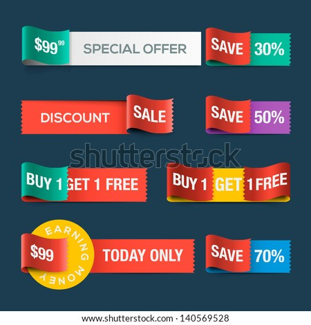 Collection of sale discount website ribbons, vector illustration.
