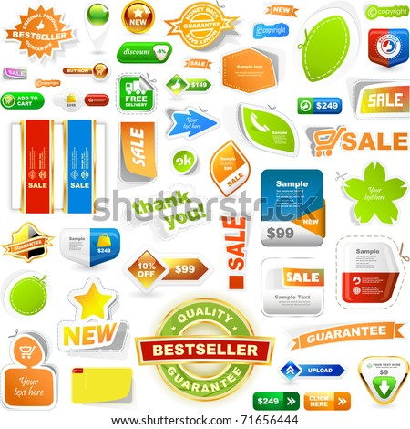 Collection of sale elements stickers labels tags Web banner and button Set of advertising coupon Vector design templates