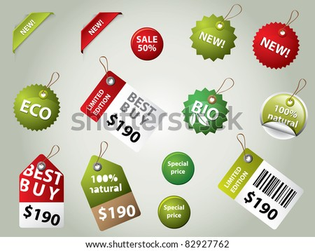 collection of sale labels and badges - stock vector