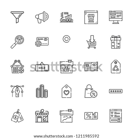 Collection of 25 sale outline icons include icons such as credit card, discount, ratings, shopping cart, funnel, tag, sold, promotion, at, coins, gift, mall, , product
