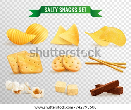 Collection of salty snacks images on transparent background with realistic pieces of chips and cookies vector illustration