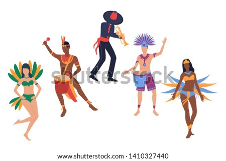 Collection of samba dancers. Group of people wearing traditional costumer for Brazilian carnival. Vector illustration for promo, traveling project, brochure