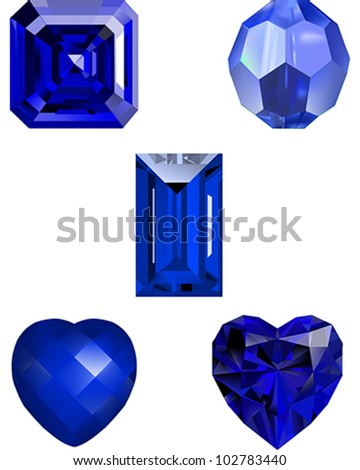 Collection of Sapphire and Crystal Vector Illustrations - illustrating an Asscher Diamond, A crystal Bead, an Emerald Cut Diamond, a faceted stone Heart and a Heart Cut Diamond