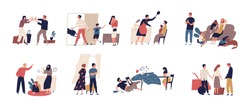 Collection of scenes of family conflict or relationship problem with unhappy married couples and children. Bundle of people breaking up, quarreling and fighting. Flat cartoon vector illustration.