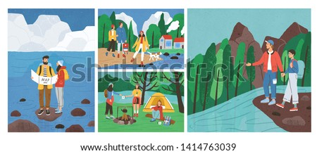 Collection of scenes with friends hiking or backpacking in forest or woods at river or sea. Set of young tourists or backpackers on camping trip, adventure travel. Flat cartoon vector illustration.