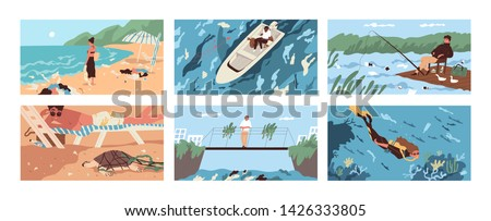 Collection of scenes with garbage and plastic debris floating in sea, ocean, lake or river or scattered along beach. Polluted water. Problem of marine pollution. Flat cartoon vector illustration.