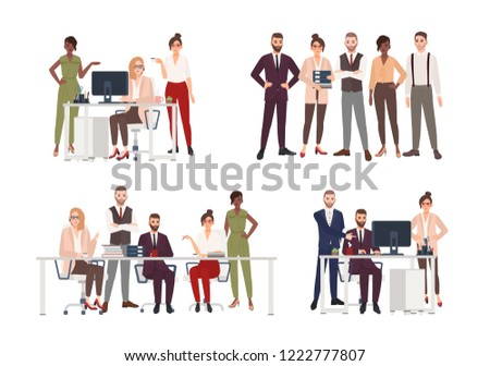 Collection of scenes with group of office workers or people working on computer, having business meeting or brainstorming, standing together. Colorful cartoon characters. Flat vector illustration.