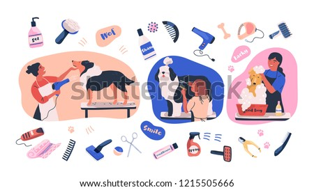 Collection of scenes with people grooming dogs and items for coat care. Women caring of domestic animals or pets - blow drying, cutting fur, washing. Colored vector illustration in flat cartoon style.