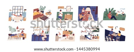 Collection of scenes with people using smartphones at home, office or outdoors. Men and women with mobile phones during work, meeting with friends or date. Flat cartoon colorful vector illustration.