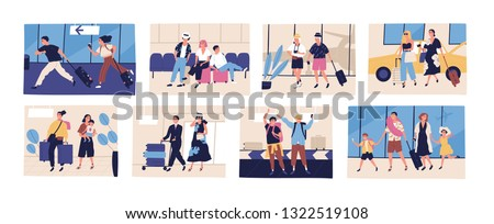 Collection of scenes with tourists going on summer vacation, journey or trip. Friends, young and elderly couples, families with kids with their baggage or luggage. Flat cartoon vector illustration.