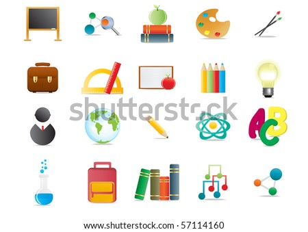 Collection of scholastic icons, vector illustration