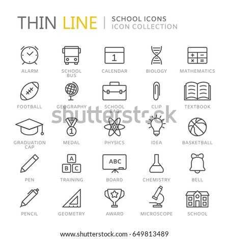 Collection of school and education thin line icons