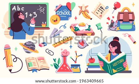 Collection of School illistrations with Cute happy children, school supplies and different decoration elements. Vector set