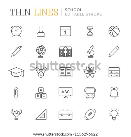 Collection of school related line icons. Editable stroke