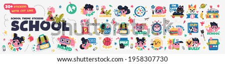 Collection of School stickers or badges with happy children, school supplies and different decoration elements. Vector set