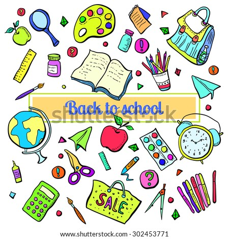 Collection of school subjects. Cartoon, colorful objects.